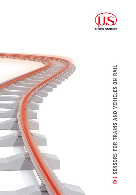 "Front view of the brochure ""Sensors for Trains and Vehicles on rail"""